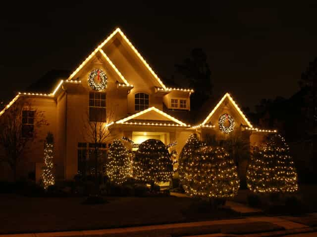 House decorated with Christmas lights