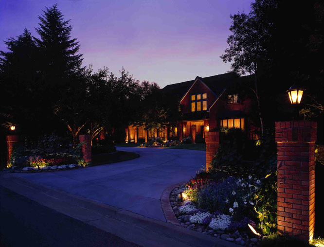 LED landscape lighting on home