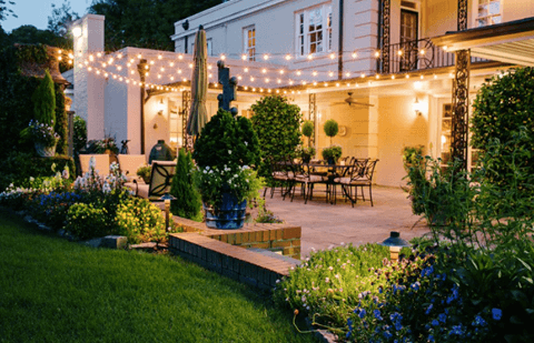 Backyard with String Lighting