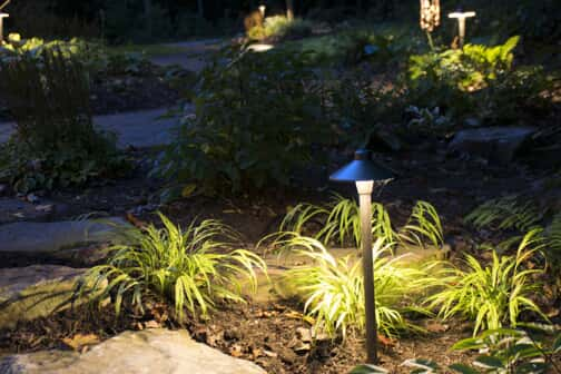 copper landscape lighting in yard
