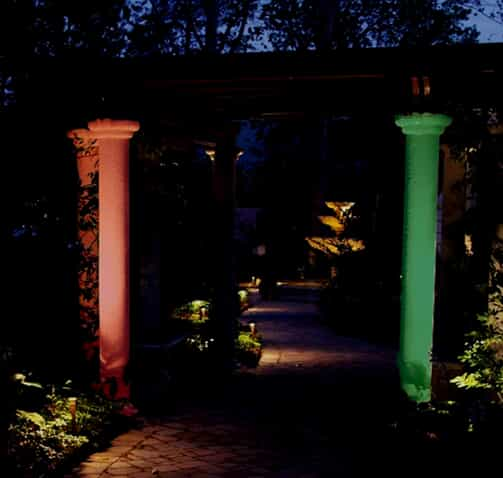 colored column lighting