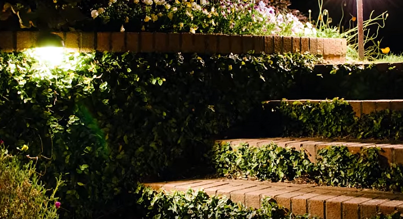 outdoor steps with lighting