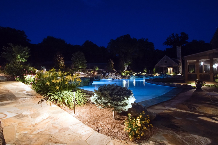 outdoor pool lighting at night
