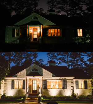 before and after landscape lighting