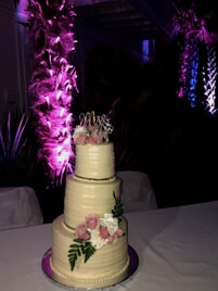 wedding cake with event lighting