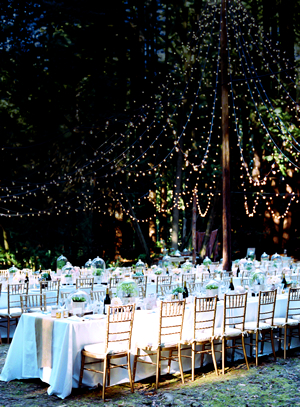 wedding with string canopy lighting