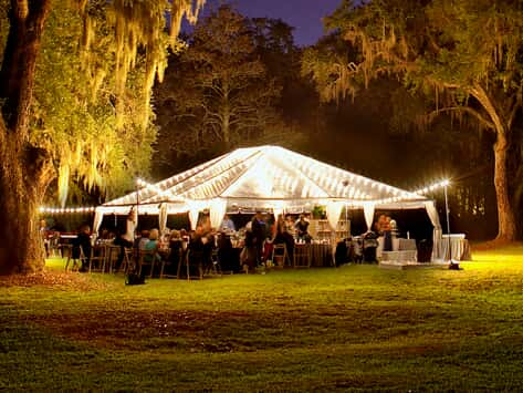 wedding tent with string lighting