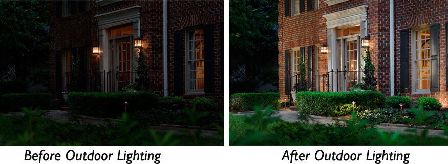 Before and after exterior lighting