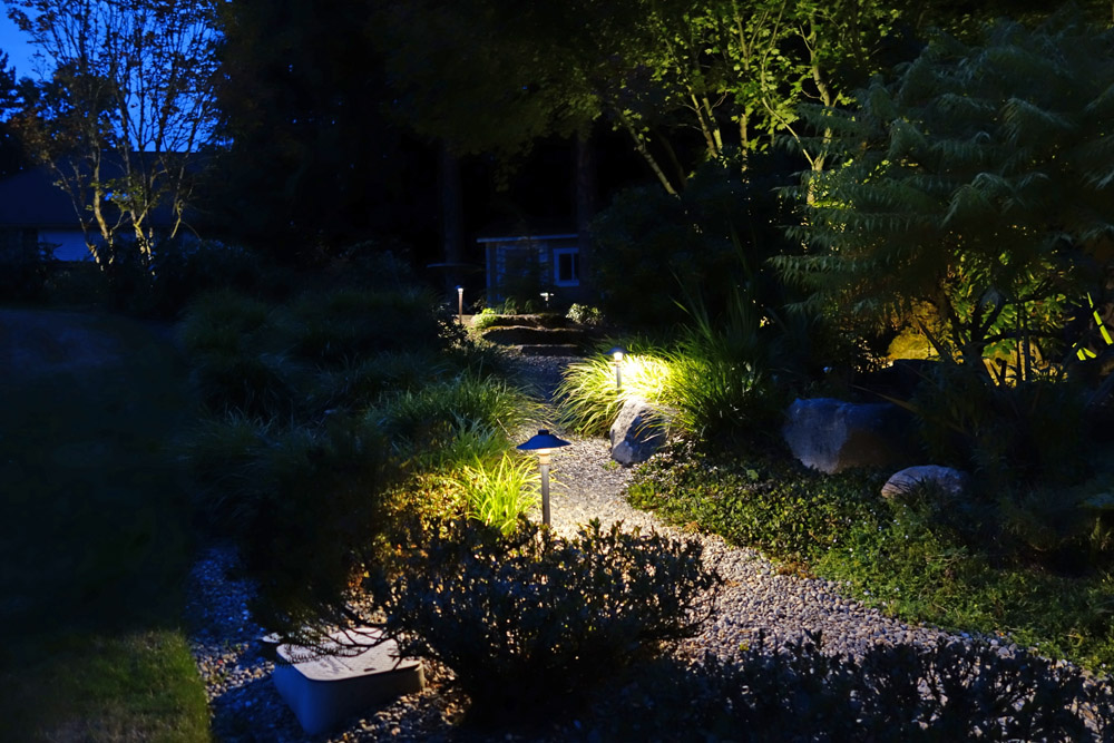 Lit rock pathway at night
