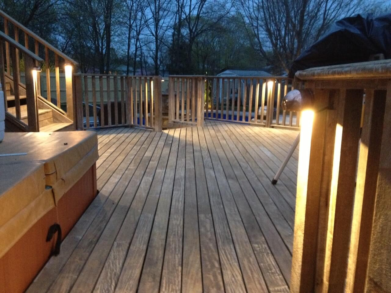 Deck with railing and lights for safety