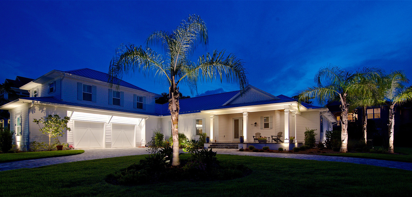 front yard architectural lighting and palm tree lighting