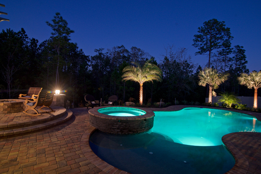 landscape and backyard lighting on pool and surrounding trees