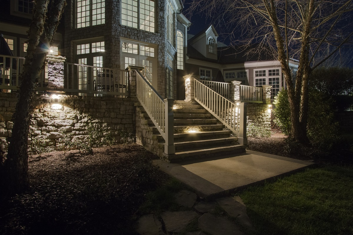 safety lighting on stairs of  home patio