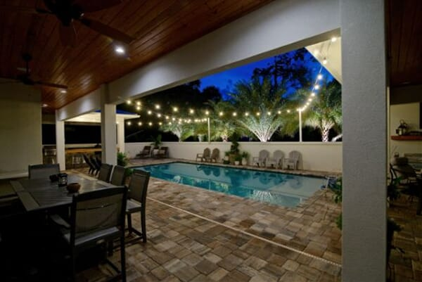 Backyard pool lighting by Outdoor Lighting Perspectives