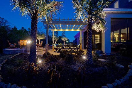 patio and plants showcased with outdoor lighting