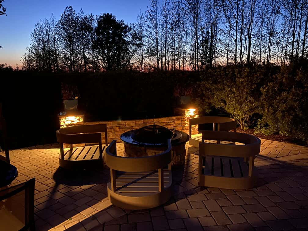 Heritage Park outdoor home illumination for patio with fire pit setting