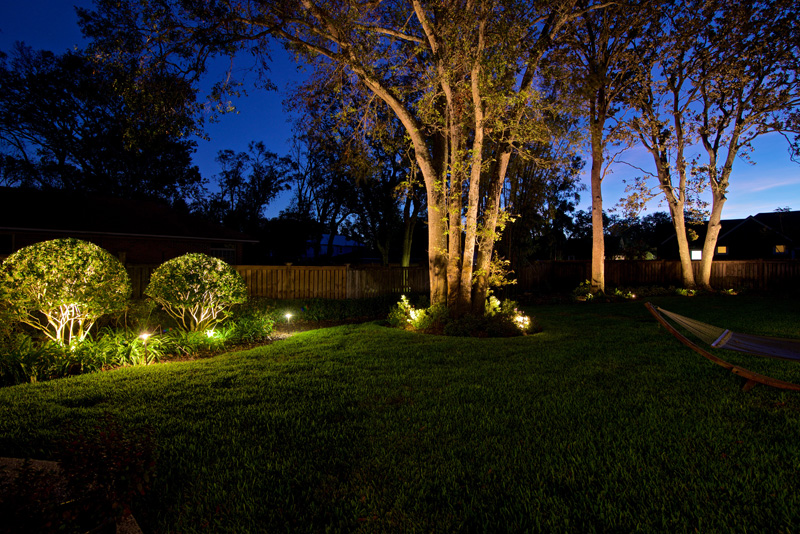 Atlanta landscape lighting installation during landscape renovation