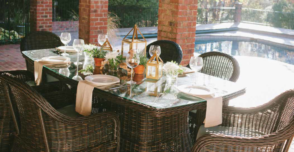 Beautifully arranged outdoor table setting
