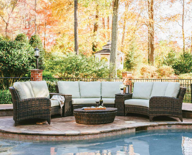 Outdoor lawn furniture by the poolside