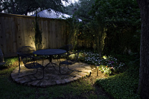Lit up outdoor spaces with furniture