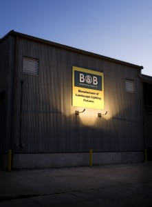 B&B business sign illuminated by lights