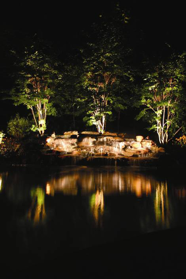 water feature lighting on pool