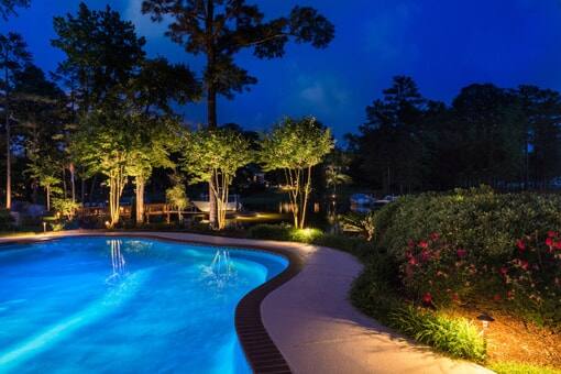 LED lighting by pool
