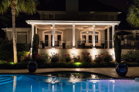 pool and patio lighting on home