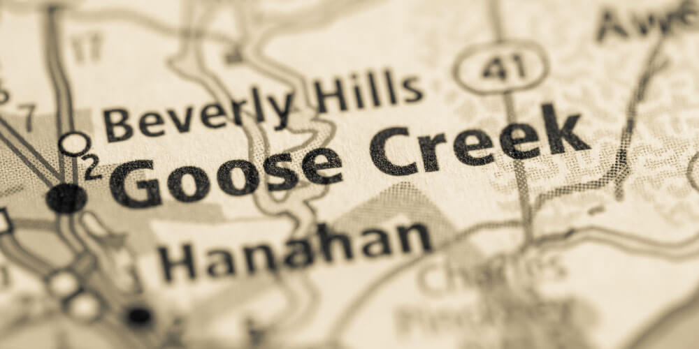 Map that is showing where Goose Creek is