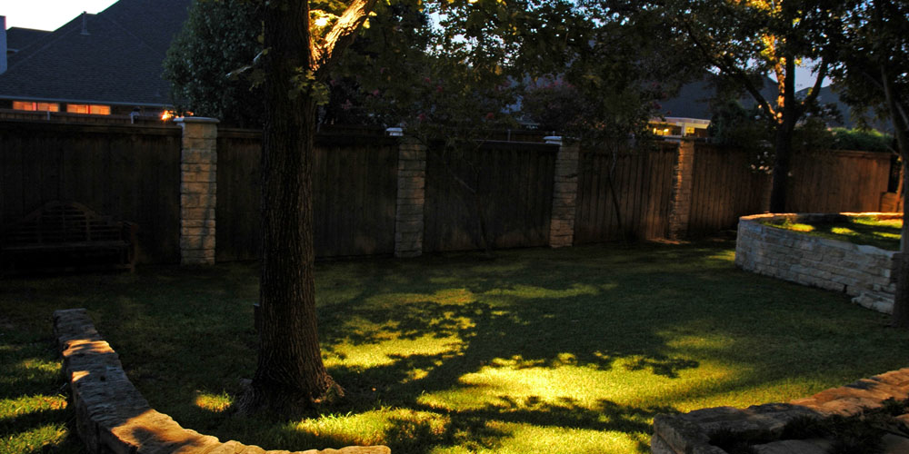 Residential yard with moonlighting
