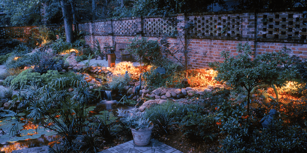 Courtyard with lots of plants and special landscape lighting