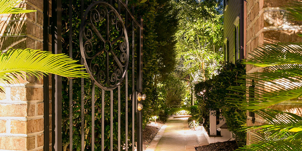 Gate and pathway with lighting