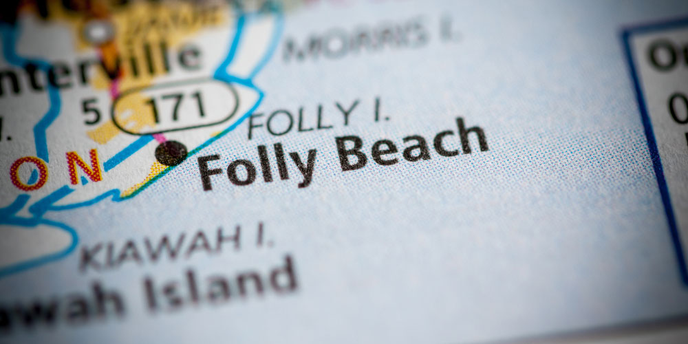 Map that is showing Folly Beach