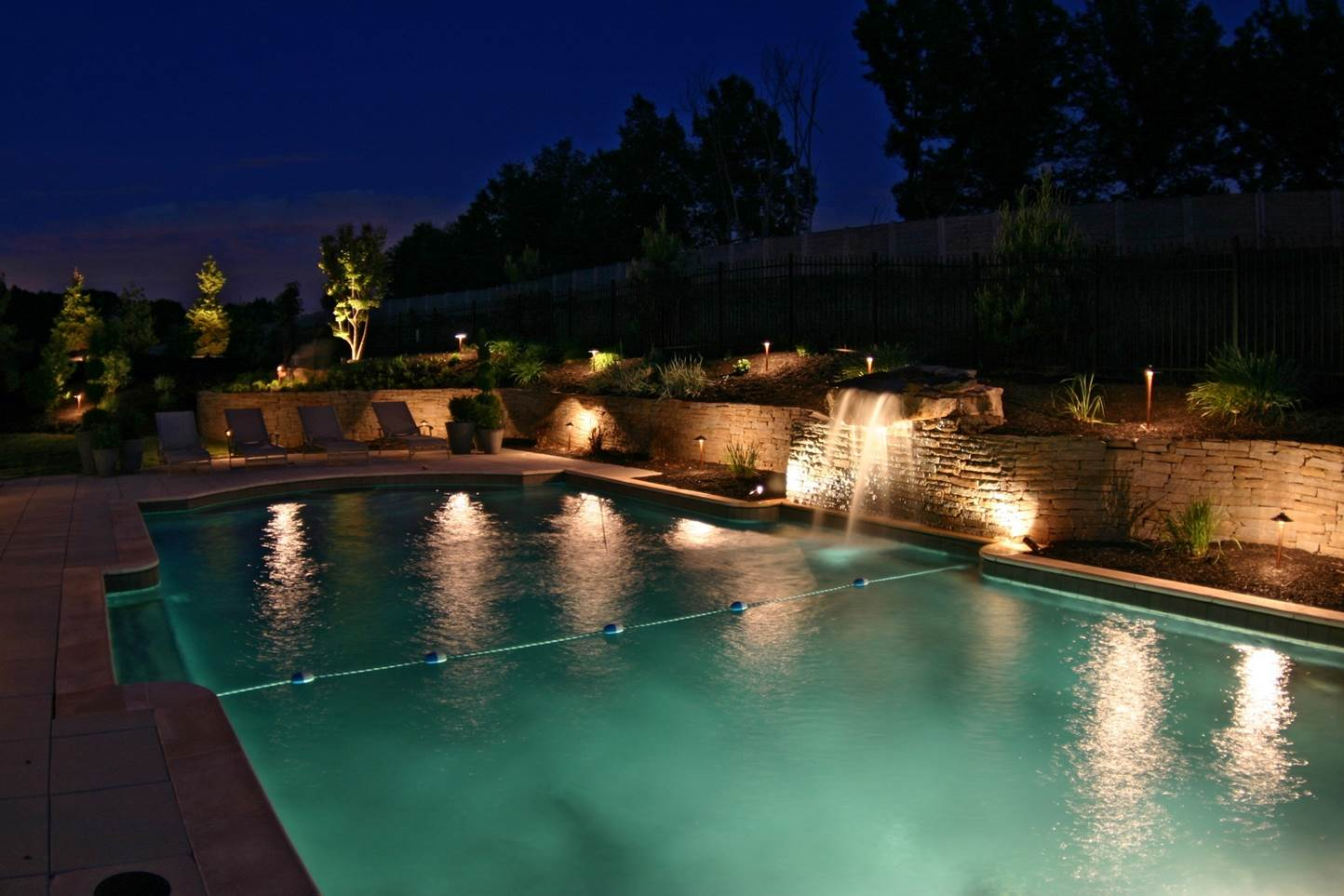 Swimming pool with nighttime lighting