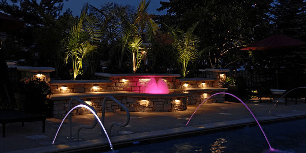 Pool and water features with lighting