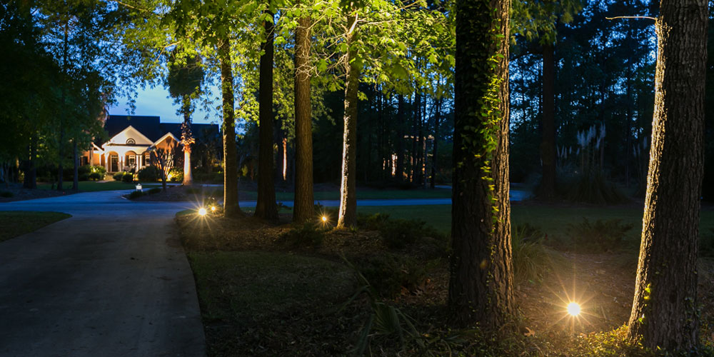 Home, driveway and front yard with special lighting